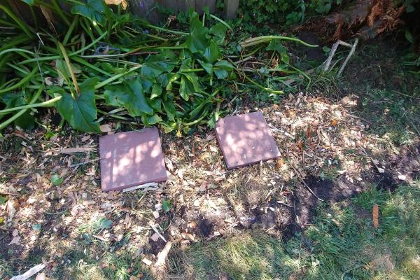 Greywater outlet in mulch bed in garden