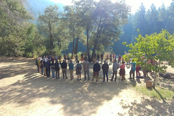 Morning Circle Prior to Field Tours (Photo credit Laura Bridy)